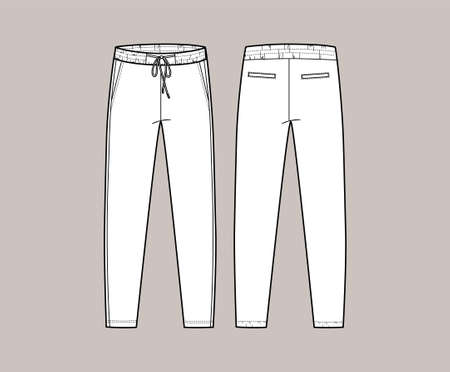 Vector trchnical sketch of joggers pants with cords and pockets. Front and back side. Unisex troussers. Casual, sport cloth. Fashion technical sketch.