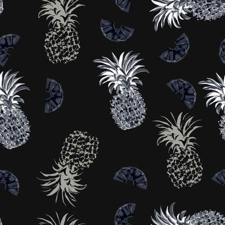 vector pattern with pineapples in monochrome colors in minimalistic trendy style. Perfect for child clothing, textile, print, cover, wallpaper and etc. Summer tropical vector background Illustration