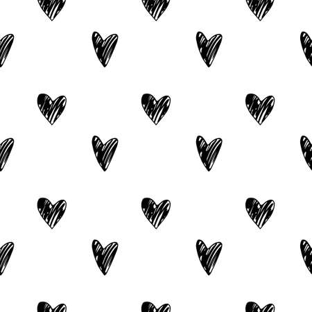 vector pattern in black and white colors with cute doodle hearts diffrent shapes. Perfect for textile, wrapping,cover and etc. Illustration