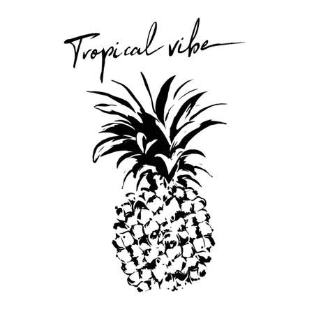 Vector illustration of black graphic pineapple with text. Perfect for poster, print on t shirt for men, weman, kids. Invintation or banner design in tropical style.