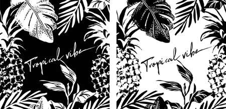 Summer tropical leaves and pineapple poster design in black and white colors, vector illustration. Graphic poster. Collection, set of tropical covers.Perfect for t shirt print, banner. Illustration