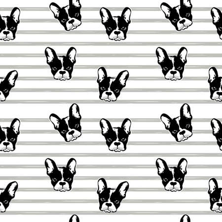 Vector monochrome pattern with dogs faces. Wallpaper with French bulldog. Pug repeat pattern. Perfect for textile
