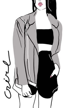 Vector crop illustration of young fashion girl in trendy look. Fashion illustration. Perfect for t shirt print, poster, cover, postcard Illusztráció