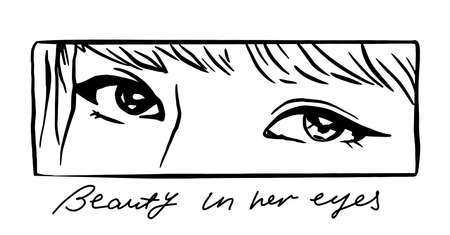 Vector illustration of young girl eyes with slogan in anime style. Asian woman. Perfect for t shirt print, poster