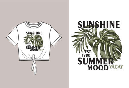 Vector technical sketch of crop top t shirt with knot and print with monstera and palm leaves with slogan. Front  part. Fashion design. T shirt mock up. Youth fashion. Fashion Print design idea