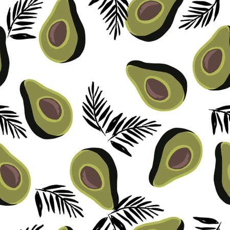 seamless pattern of half avocado on white background with graphic black palms leaves. Perfect for textile Illustration