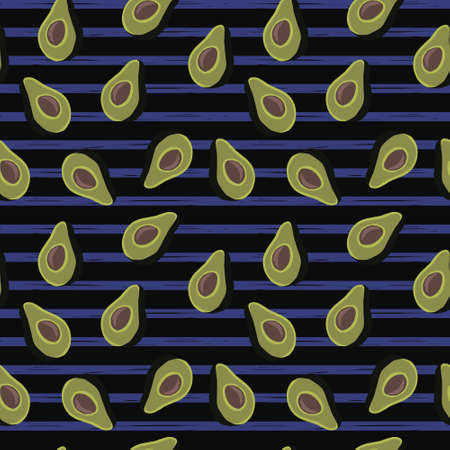 seamless pattern of half avocado on black background and blue stripes.Perfect for textile. Illustration