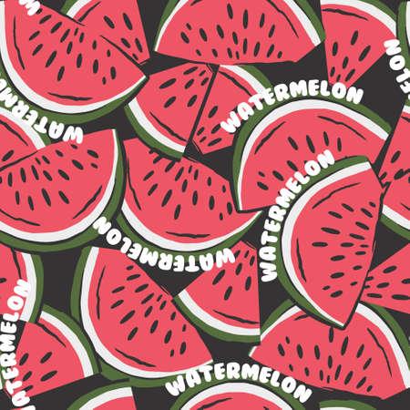 watermelon slices pattern. fruit background. Summer textile print on dark background.