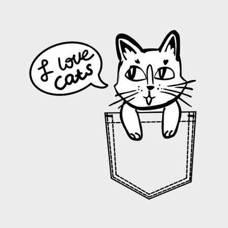 cat vector in black and white colors sitting in pocket with speach bubble