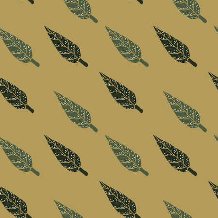 Simple leaves pattern wallpaper in green and ochra colors. Perfect for textile, wrapping. etc. Illustration