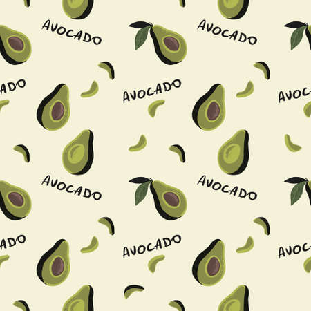 seamless pattern of half avocado on cream background and black text avocado. Perfect for textile Illustration