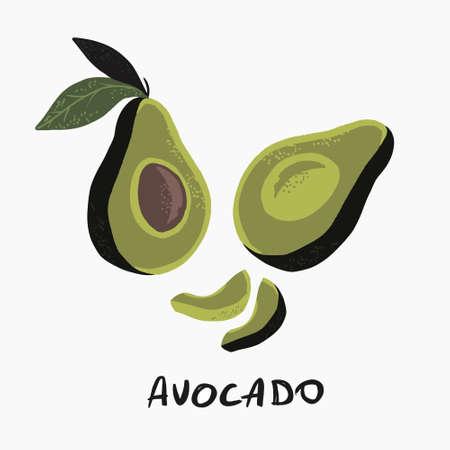 Vector illustration of half avocado on white background print