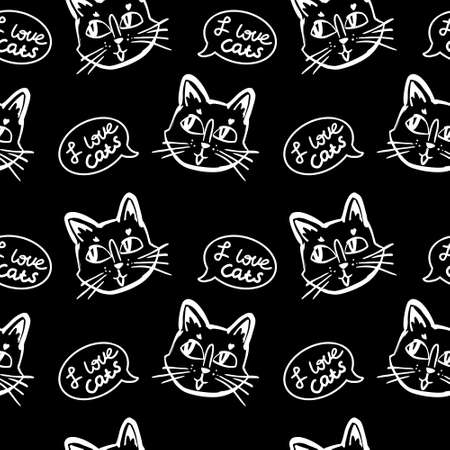 cat vector seamless in black and white colors.Wallpaper background with cartoon kitty muzzles with bubble speach in line art Illustration