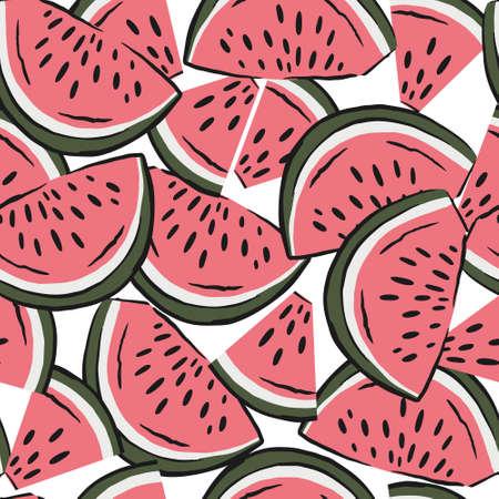 watermelon slices pattern. fruit background. Summer textile print on white background. Illustration
