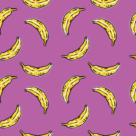Vector graphic bananas pattern on violet background. Perfect for textile, cover, wrapping Illustration