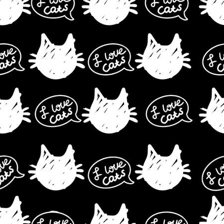 cat vector seamless in black and white colors.Wallpaper background with cartoon kitty muzzles. Pattern for textile, wrapping and etc.