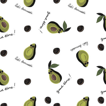 seamless pattern of half avocado with eyes and smile on white background with text lets avocuddle. Perfect for textile