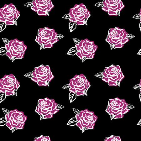 Simple roses pattern on white background. Line art flower back drop. Perfect for textile.
