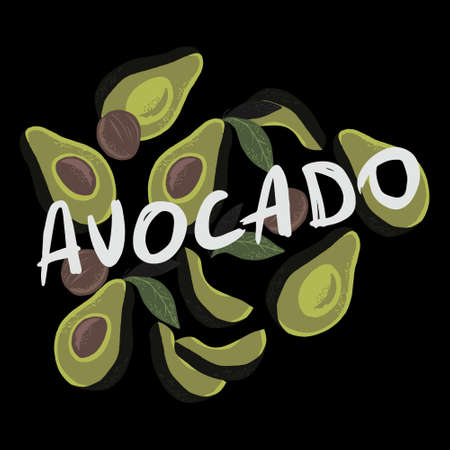 Vector illustration of half avocados on black background and white text avocado.