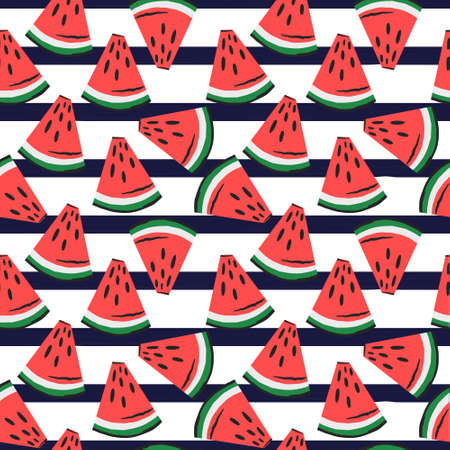 watermelon slices pattern on blue striped background. fruit background. Summer textile print on white background.