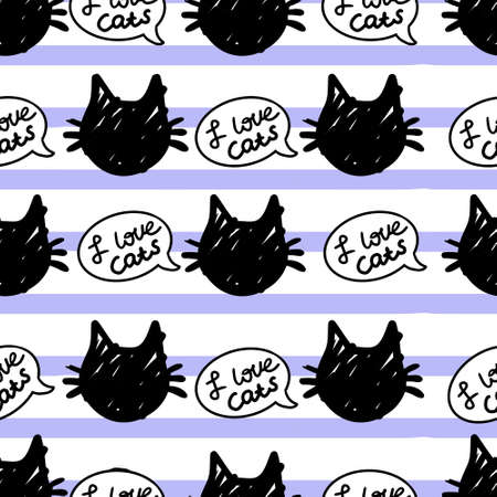 cat vector seamless in black and white colors.Wallpaper background with cartoon kitty muzzles with bubble speach on striped background in black and white colors.