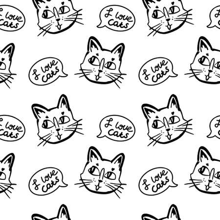 cat vector seamless in black and white colors.Wallpaper background with cartoon kitty muzzles with bubble speach on dotted background in black and white colors. Illustration