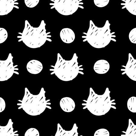 cat vector seamless Pattern isolated on white and black dots background.Wallpaper background with cartoon kitty muzzles. Pattern for textile, wrapping and etc.