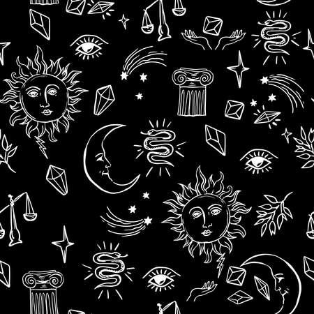 Doodle hand drawn vector seamless pattern with magic attributes,sun and moon, tarot symbols. Illustration