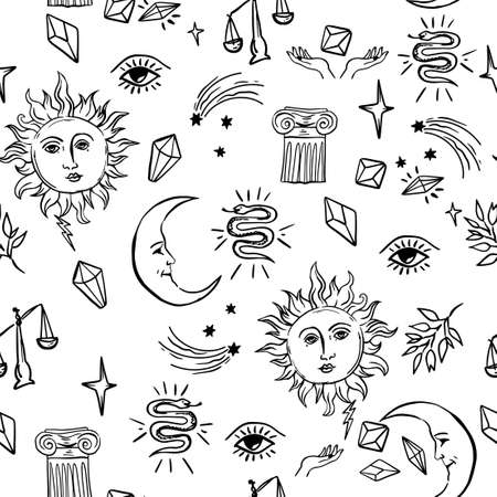alchemy mystic pattern with moon and sun, stars and other symbols. cosmic sky. perfect for textile, wrapping paper.