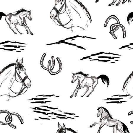Seamless wallpaper pattern. The running horses in sketch hand drawn style. Western pattern. Illustration