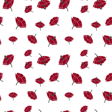Vector seamless pattern with simple red poppy on white background. Perfect for fabric, wrapping, wallpaper