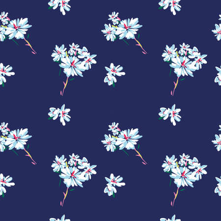 Vector seamless pattern with simple doodle flowers on dark blue background. Perfect for fabric, wrapping, wallpaper Illustration