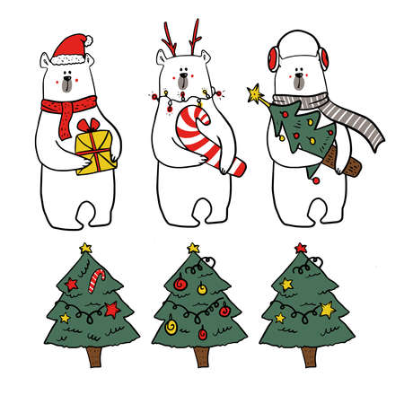 set of christmas characters. Collection of cute funy white bears in christmas outfits and three christmas tree