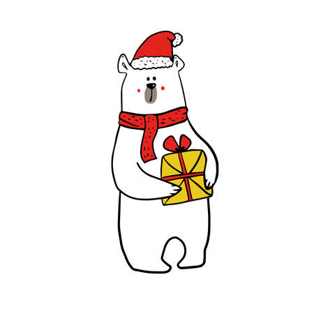cute funy white bear in christmas outfit of santa claus with present. Illustration
