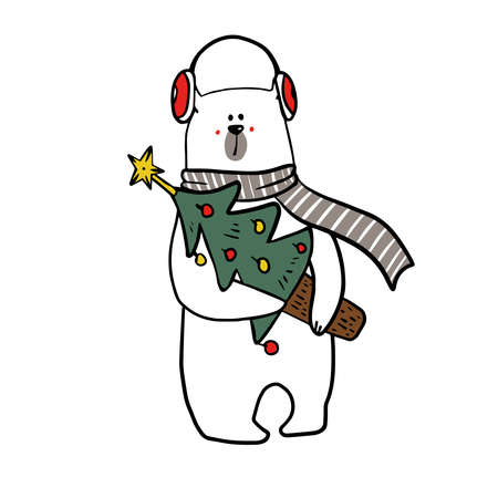 cute funy white bear in christmas outfit with christmas candy.