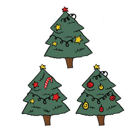 three christmas tree set. Holiday illustration