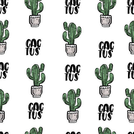 pattern with green cactuses in flowerpot on white background with text. Illustration