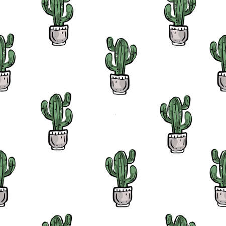 pattern with green cactuses in flowerpot on white background.