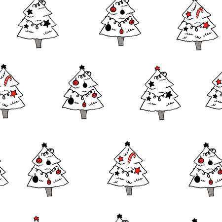 Outline christmas tree on white background. New year background. Christmas wallpaper