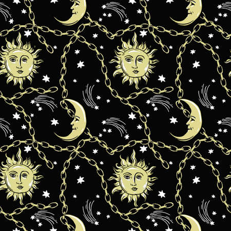 pattern with sun and moon on night sky with gold chains.