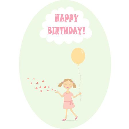 cute girl: happy birthday card with cute girl