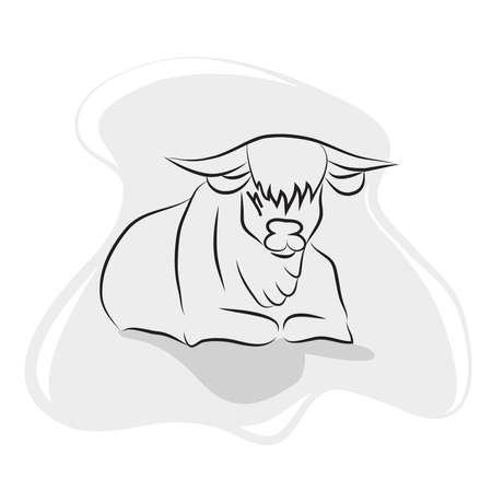 Linear drawing of a bull on a gray background. Simple image of a bull - symbol of 2021. Line art Vetores