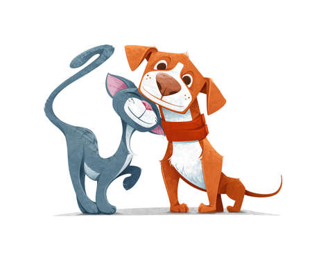 Cartoon Cat and Dog Playing Together Like Two Best Friends - Illustration. 向量圖像