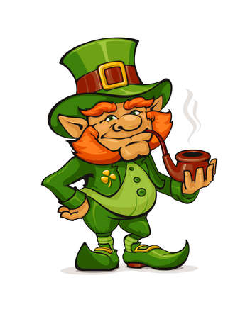 Illustration of a Cartoon Leprechaun Wearing a Green Suit and Holding a Smoking Pipe. 向量圖像