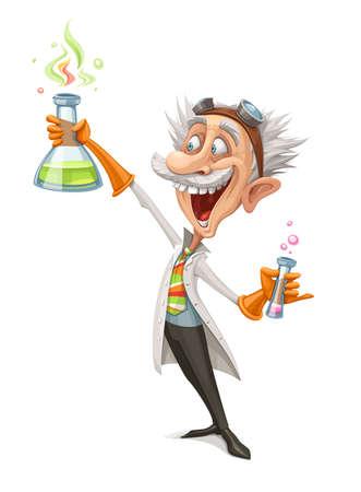 Illustration eines verrückten Wissenschaftlers, der ein Reagenzglas hält und sein verrücktes Experiment macht.
