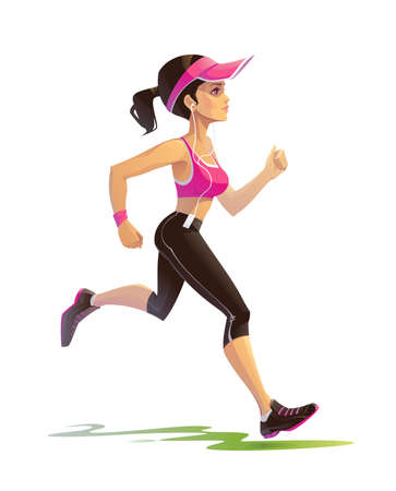 Illustration of a Young Beautiful Woman Jogging Outdoors and Listening to Music.