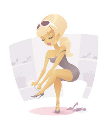 Illustration of a Blonde Girl Trying On a New Pair of High Heels. 向量圖像