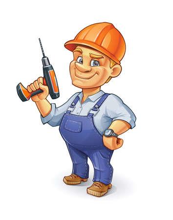 Trabajador de construcción de divertidos dibujos animados con un casco de construcción naranja y taladro de sujeción.