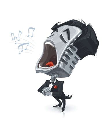 Illustration Of A Funny Cartoon Microphone Singing an Opera.
