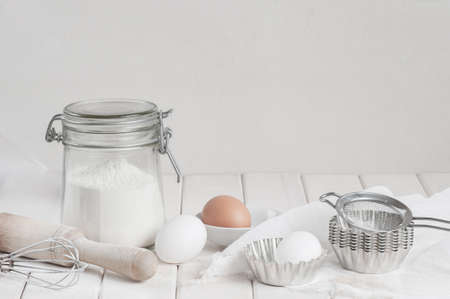 Ingredietns for cakes on the white background
